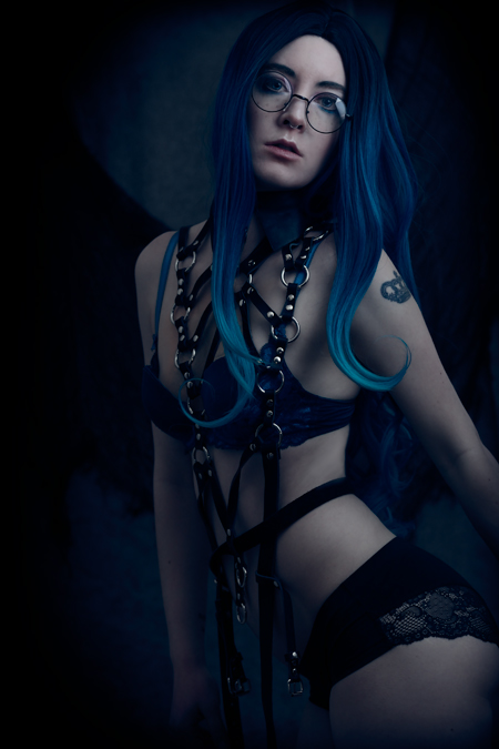 Gothic fashion boudoir self-portrait photography