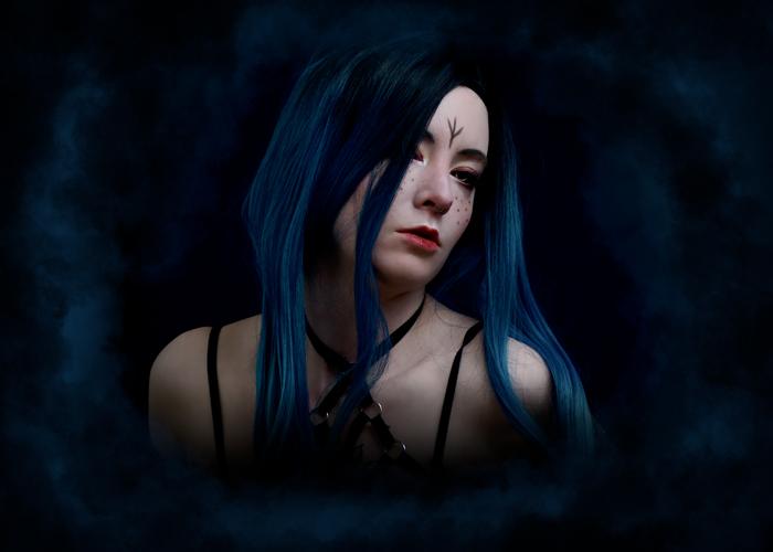 blue witch fantasy makeup portrait