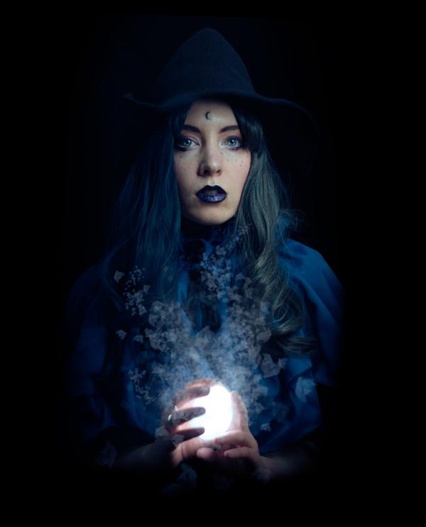 blue witch fantasy portrait