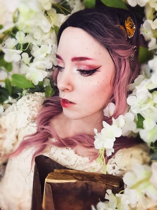pink fantasy makeup of a spring nymph