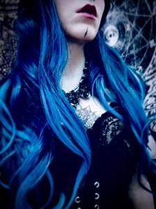 Blue goth thrifted fashion portrait