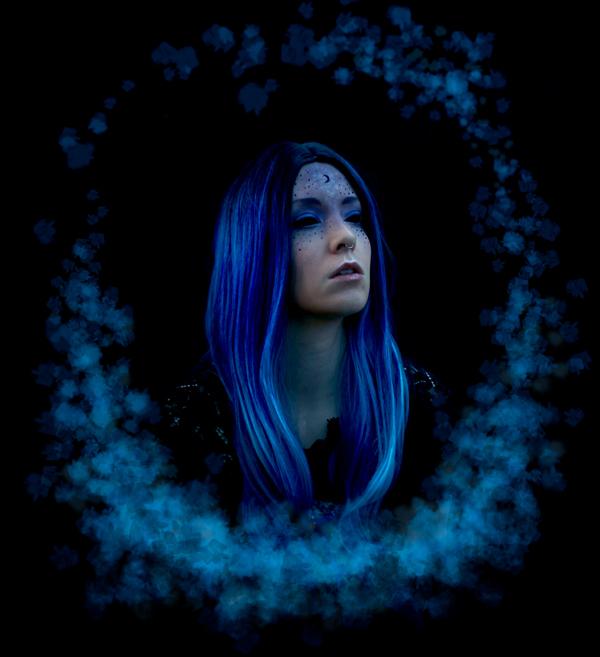 fantasy blue witch portrait