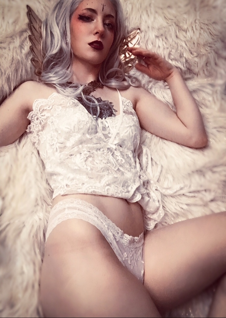 angel boudoir fantasy photoshoot  for a glamour OnlyFans lewd portrait